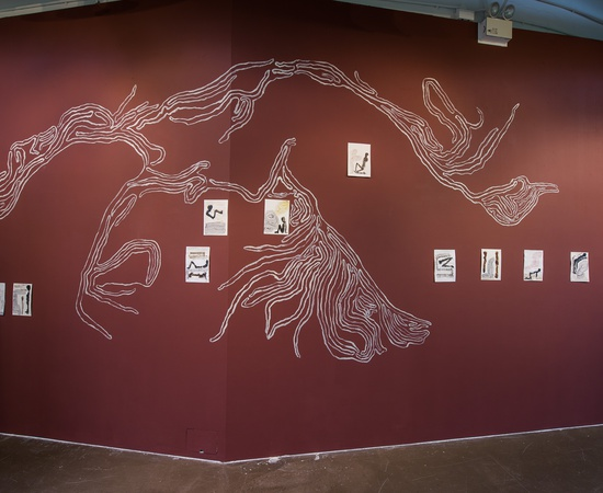 <p><em>Untitled</em>, wall painting installation with ink drawings, ICA Singapore Project Space.</p>